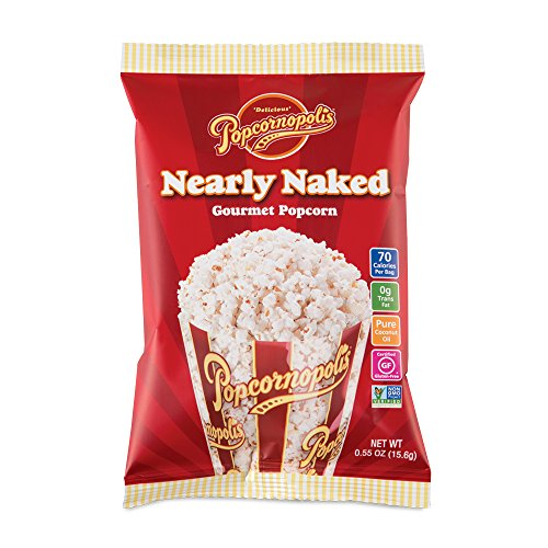 Popcornopolis Gourmet Popcorn Snack Bags (pack of 24) (Nearly Naked 0.55oz)