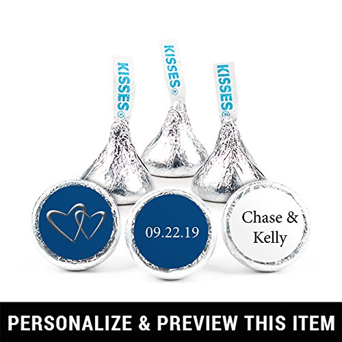 Personalized Wedding Stickers for Hershey's Kisses Favors - Midnight Blue (108 Stickers)