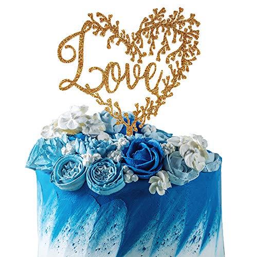 (AZIWEI Love Heart Shape Tree Acrylic Cake Topper Sweet Treats Drunk in Love Wedding Party)