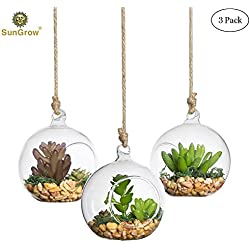 3 Hanging Glass Terrariums by SunGrow - Spherical Air Plant Orb - Handmade, heat-resistant glass - Create refreshing atmosphere in Terrace Garden - Rocks, plants & other accessories NOT included