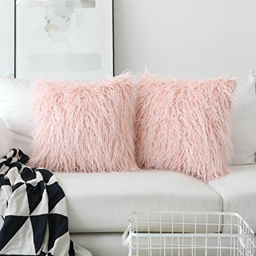 Home Decorative Super Soft Plush Mongolian Faux Fur Euro Sham Throw Pillow Covers Large Square Pillowcases for Couch, Set of 2 (24 x 24 inch, Pink)