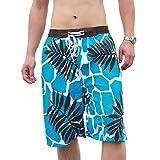 YueLian Unisex Couple Quick-drying Board Shorts Stretch Beach Trunks 7 Styles (Men S, Coconut Tree 1)