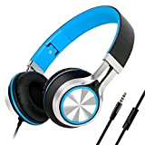 Sound Intone HD200 Headphones with Microphone Lightweight Folding Stereo Earphones for iPhone,PC,Laptop, Android Smartphones,Tablet (Black/Blue)