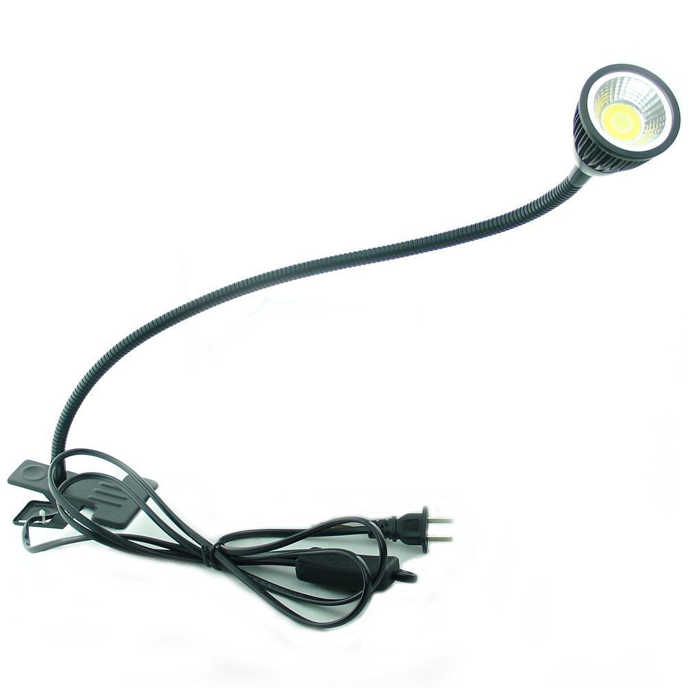 QUANS 5W 3 Colors LED COB Clip on Light Black 19.68 INCH 50 cm Tube Desk Flexible Table Bed Lamp Work Home Design Lighting 110V 220V 85-265VAC with US Plug Switch on Off 500LM (Black) by QUANS