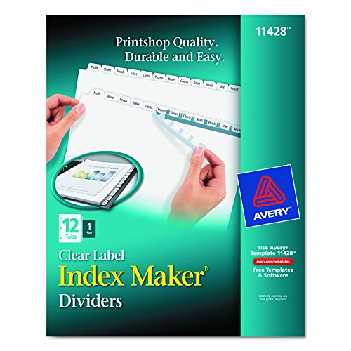 Avery Index Maker Label Dividers (Avery 11428 Index Maker Print & Apply Clear Label Dividers w/White Tabs, 12-Tab, Letter)