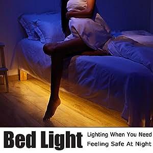 Motion Activated Bed Light, Vansky Flexible LED Strip Motion Sensor Night Light Bedside Lamp Illumination with Automatic Shut Off Timer (Warm Soft Glow)