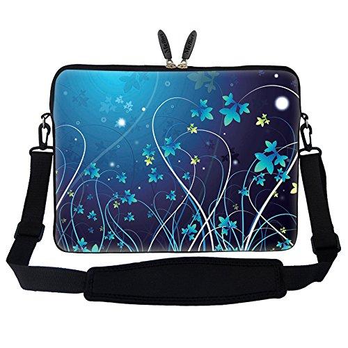 - Meffort Inc 15 15.6 inch Neoprene Laptop Sleeve Bag Carrying Case with Hidden Handle and Adjustable Shoulder Strap - Blue Mini Flower Swirl