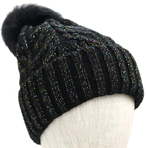 UGG Women's Cable Knit Pom Beanie Black Multi Metallic Plaited One Size