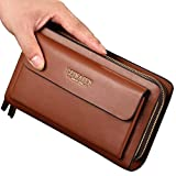 Business Men's Clutch bag High capacity Leather Wallet Double zipper Long Purse
