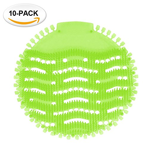 HonTop Urinal Screens Deodorizer Anti Splash Technology - Fits Most Top Urinal Brands at Restaurants, Office Building, Home, Schools, etc. (10-pack, Green - (Nilodor Deodorizing)