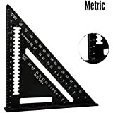 JINBEST Triangular Scales Protractor Miter Framing Measuring, Black 7''