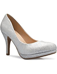 Women's Classic Round-Toe Platform Pumps Stiletto Dress...