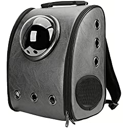 Texsens Innovative Traveler Bubble Backpack Pet Carriers for Cats and Dogs (Switchable Ash Black)