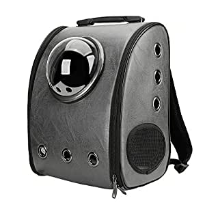 Texsens Innovative Traveler Bubble Backpack Pet Carriers Airline Switchable Mesh Panel for Cats and Dogs (Switchable Ash Black)