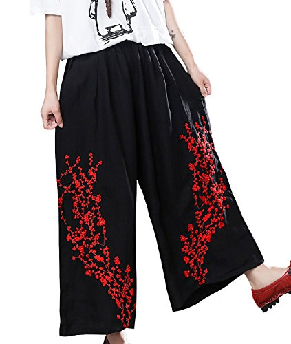 - YESNO P65 Fashion Casual Cropped Linen Pants Wide Leg Floral Embroidery Elastic Waist Waist Gathered/Pockets