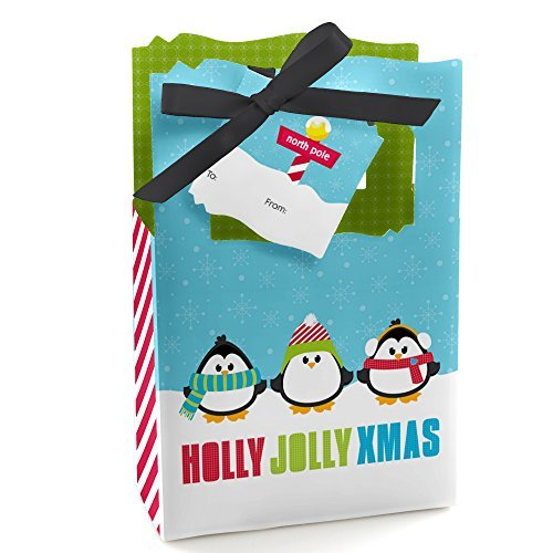 Holly Jolly Penguin - Christmas & Holiday Party Gift Bags - Set of 12 (Jolly Holiday Box)