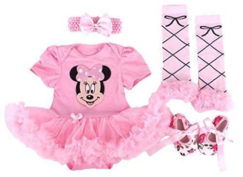 Minnie Mouse Baby Dress (Baby Rae Clothing 4 in 1 Set: Skirt Shortall+Head Band+Legging Socks+Shoes -Pink Minnie Mouse-Sold Ship from USA)