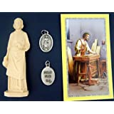St Joseph Statue Home Seller Selling Kit Saint House Figurine and Instruction Prayers and Medal