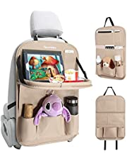 Tsumbay Car Organizer, PU Leather Car Seat Organizer with 9 Pockets, Foldable Tray Table, Tablet Holder, Seat Back Protector Kids Kick Mat Car Storage Organizer for Parents Kids Drivers
