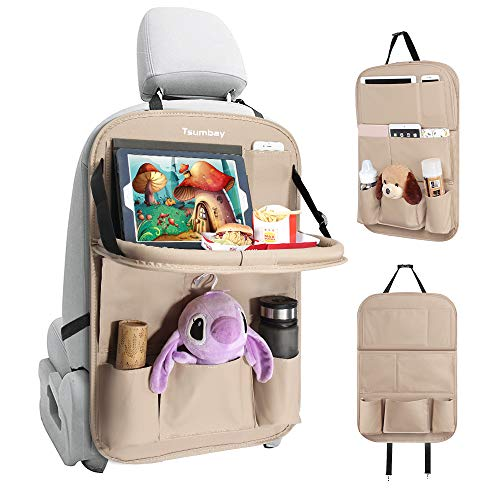 Tsumbay Car Back Seat Organizer PU Leather Car Storage Organizer with Foldable Table Tray, Tablet Holder, 9 Storage Pockets, Car Back Seat Protectors Kick Mats Car Travel Accessories for Kids (Beige)