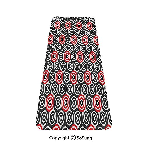 Geometric Circle Decor Rug Runner,Interlace Spiral Labyrinth Blind Oval Linked Mosaic Artistic Image,for Living Room Bedroom Dining Room,4'x 2',Red Black