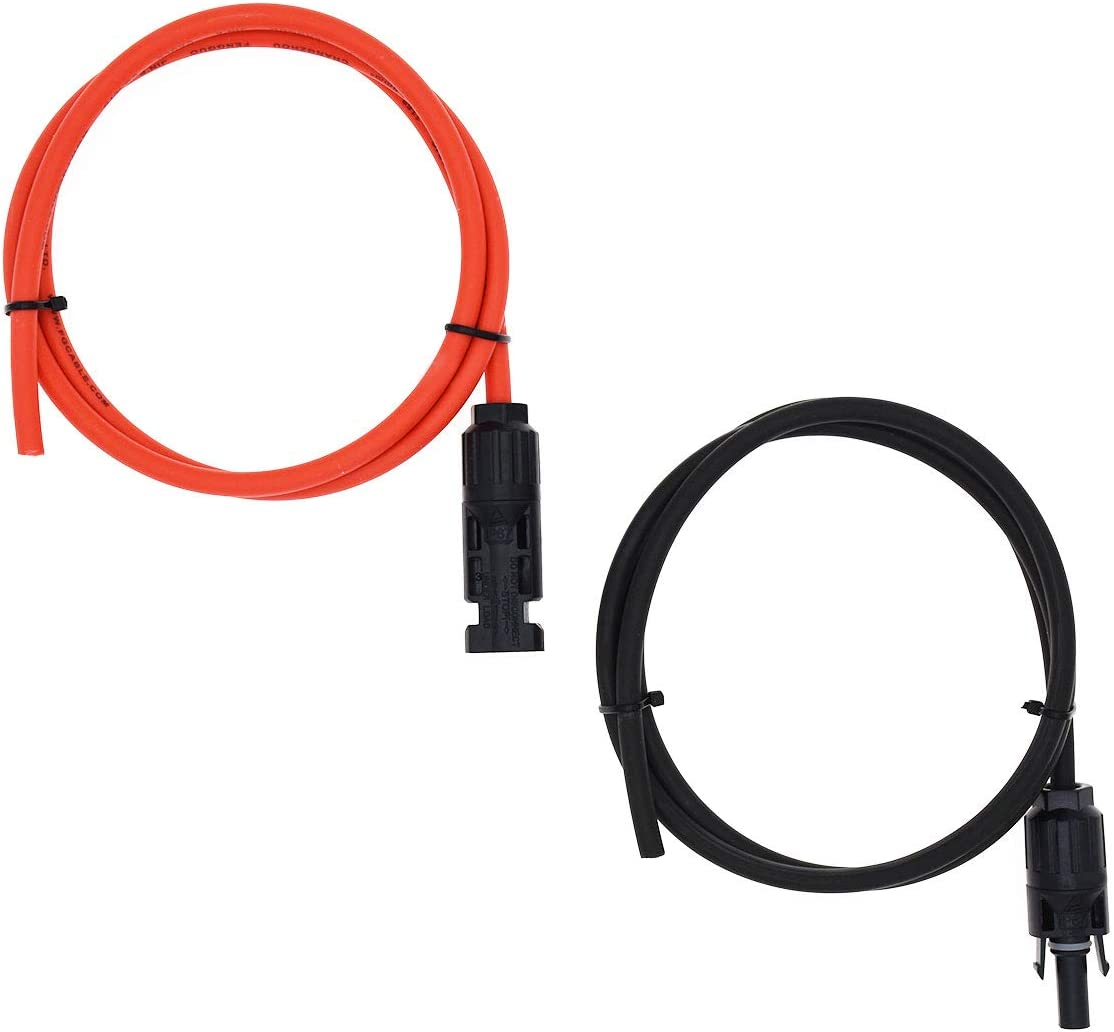 4mm/² MC4 Solar Adaptor Cable Solar Panel Extension Cable Wire MC4 Connector Solar Extension Cable with MC4 Female and Male Connectors Super Cloud 1 Pair Black Red 12AWG 15FT-2D