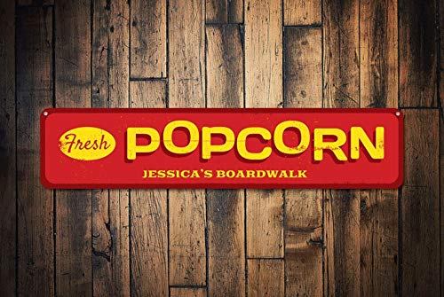 gdrthgtrht Fresh Popcorn Sign, Personalized Boardwalk Name Sign, Custom Beach House Sign, Beach Houses, Metal Beach House Decor - Quality Aluminum,Warning Metal Sign