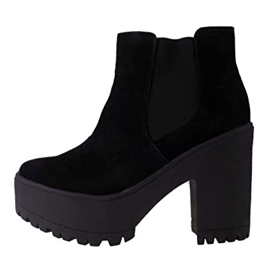 Ladies TRUFFLE Black Faux Suede Chunky Cleated Sole Pull On Chelsea Ankle Boots