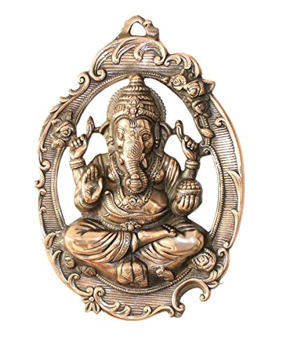 APKAMART Lord Ganesh Wall Hanging - Ganpati In Oval Plate -16 Inch - Wall Showpiece For Wall Decor, Room Decor, Home Decor And Gifts