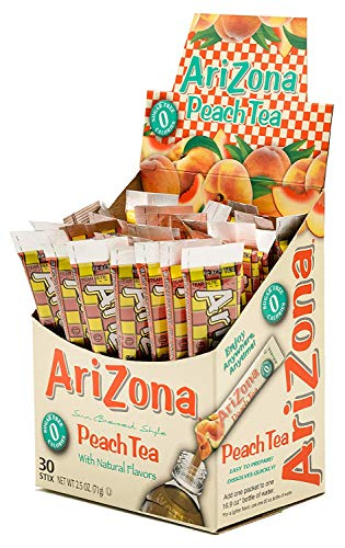 AriZona Peach Iced Tea Iced Tea Stix Sugar Free, 30 Count Box, Low Calorie Single Serving Drink Powder Packets, Just Add Water for a Deliciously Refreshing Iced Tea Beverage Drink Mix