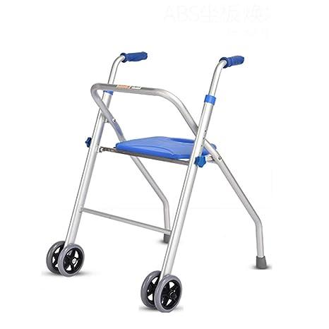 Trella - Andador de aluminio con 2 ruedas, asiento ligero y ...