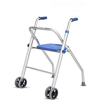 Trella - Andador de aluminio con 2 ruedas, asiento ligero y plegable, asiento acolchado para personas mayores, pasamanos con andador: Amazon.es: Salud y ...