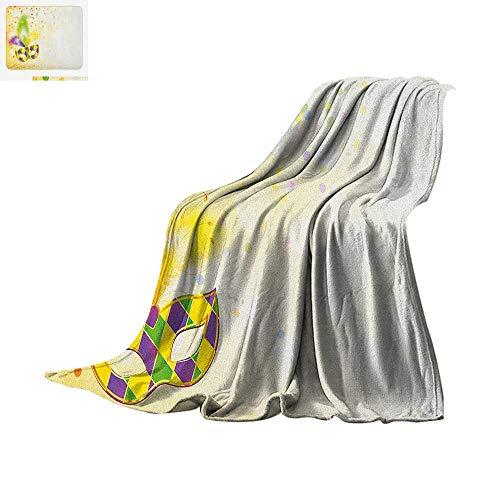 Custom Mardi Gras Masks - Mardi Gras Custom Design Cozy Flannel Blanket Festival Mask with Ornamental Feathers Colorful Dots Confetti Party Digital Printing Blanket 60