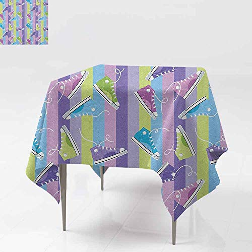 (AndyTours Washable Square Tablecloth,Retro,Different Colored Sneakers on Vertically Striped Backdrop Youth Footwear Fashion,Party Decorations Table Cover Cloth,54x54 Inch Multicolor)