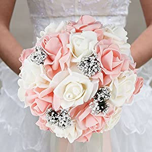 Wedding Romantic Bride Bouquet Artificial Rose Hand Bouquet Korean Style Simulation Holding Flower Wedding Supplies White+Pink 67