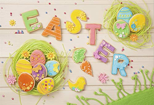 LFEEY 10x8ft Vinyl Backdrop Photography Background Happy Easter Painted Eggs Gingerbread Green Straw Bird Nest Flowers Carpet on White Wood Plank Children Kids Adult Portrait Photo Studio ()