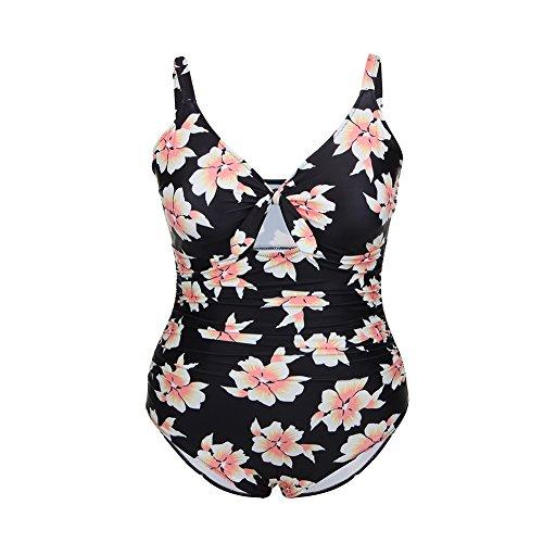 8d875f910e9e Lover-Beauty Damen Badeanzug Große Größen Zweiteiler Sexy Bikini Set Push  up Blumen Schwarz Bademode ...