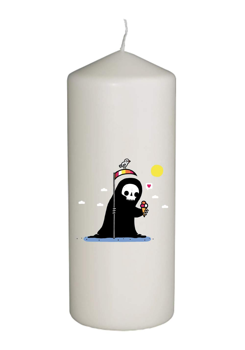 Randy Otter Happy Death Grim Reaper w/Ice Cream Thick White in Full Color Unity Candle - Wedding, Baptism, Funeral, Special Event Decoration (6 inches Tall)