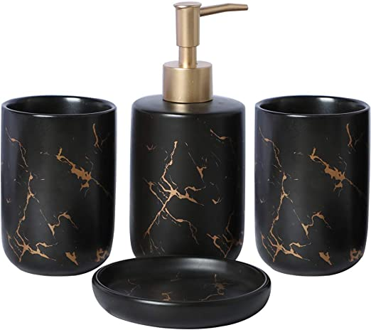 Amazon Com Epfamily Creative Golden Black Marble Pattern Marble Bathroom Accessories Set 4 Pieces Include Soap Dispenser 2 Tumblers Soap Dish Home Kitchen