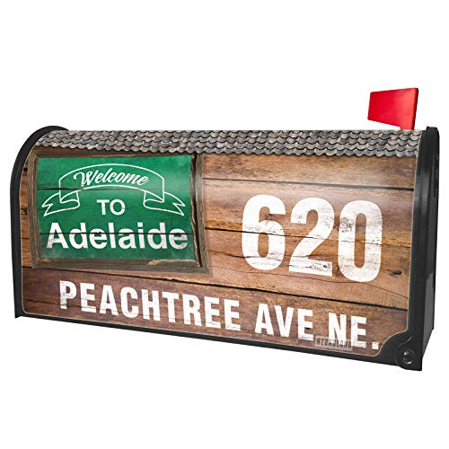 NEONBLOND Custom Mailbox Cover Green Sign Welcome to Adelaide