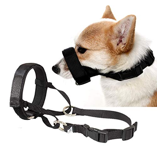 - Barkless Quick Fit Nylon Dog Muzzle, Adjustable Loop, Anti-Barking, Bting and Chewing Muzzle for Small, Medium, Large Dogs (L, Black)