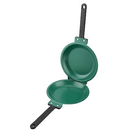 FTVOGUE Skillet - Sartén Antiadherente de Doble Cara con Revestimiento de cerámica, Color Verde