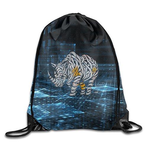 Cool Street Art Rhino Drawstring Backpack Travel Bag Bags Spacious