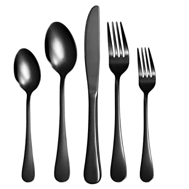 Nicekitchen 20-Piece Flatware Cutlery Set Stainless Steel Silverware Matte Black Metal Utensils Group Serves 4, (20pcs)