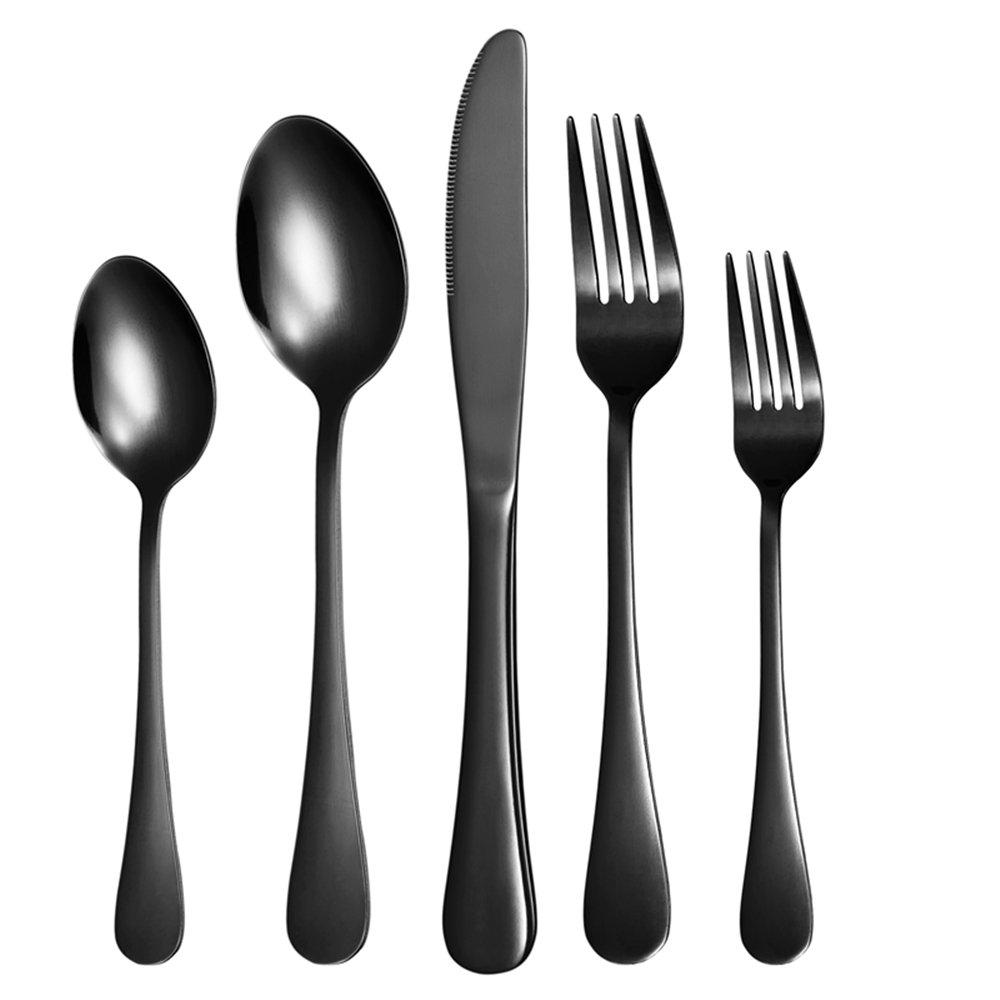 Nicekitchen Silverware Set Flatware Cutlery Stainless Steel Matte Metal Utensils Group Serves 4, 20-piece, Black
