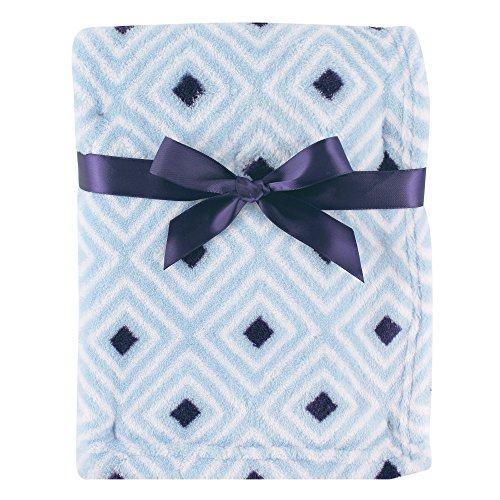 Luvable Friends Print Coral Fleece Blanket, Blue Diamond