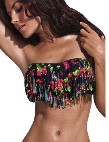 Sexy Strapless Swimwear Women Tassel push up bikini!Black Flowers Printing !