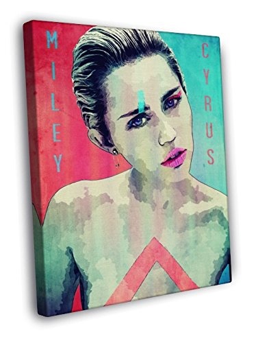 Miley Cyrus Hot Sexy Nude Awesome Pop Art Vintage Painting 50x40 Framed Canvas Print