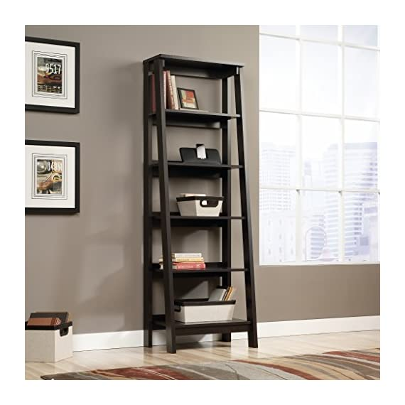 Sauder Trestle 5 Shelf Bookcase, Jamocha Wood finish - Open storage holds books, photos, collectibles, and more. Finished on all sides for versatile placement. Jamocha Wood finish. - living-room-furniture, living-room, bookcases-bookshelves - 51GM3NEWGDL. SS570  -