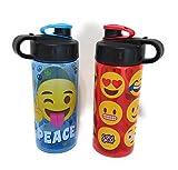 Emoji Beverage Water Bottles Set of 2 - 16oz Each (designs may vary)